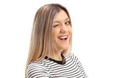 Eine schöne blonde Gesichtsnahaufnahme Lizenzfreies Stockfoto