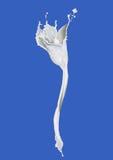 Eine schöne Blume, die von der weißen Flüssigkeit gemacht wird, spritzt Stockfoto