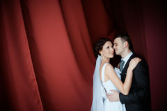 Eine schöne Braut und ein Bräutigam Stockbilder