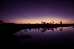 Eine schöne, bunte, künstlerische Landschaft eines Sumpfes im Sonnenaufgang Stockfotos