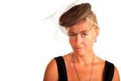 Eine schöne Frau mit einem Schleier auf ihrem Kopf, Stockbild