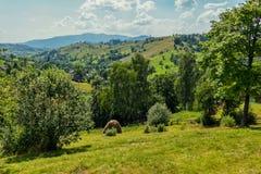 Eine schöne Landschaft mit einer Landschaft der Natur und der Natur unter den leichten grünen Bergen Stockfoto