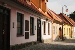 Eine schöne Straße in der Stadt von Blatna in der Tschechischen Republik Lizenzfreies Stockfoto
