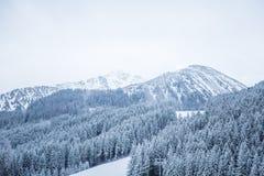 Eine schöne Winterlandschaft mit einem Gebirgssee im Blizzard Stockfoto