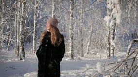 Eine Schönheit ist glücklich und geht in den Park an einem Wintertag stock footage