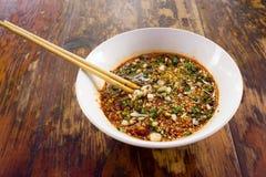 Eine Schüssel Chinese Chili Sauce Lizenzfreie Stockfotos