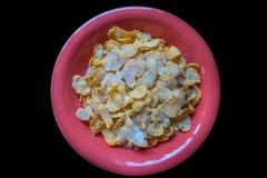 Eine Schüssel Corn-Flakes mit Milch und Zucker Lizenzfreie Stockbilder