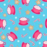 Eine Schale heißer Kakao mit Zuckerstange und Lebkuchenstern Nahtloses Muster für Weihnachten und neues Jahr vektor abbildung