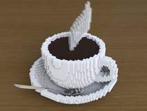 Eine Schale Pixelkaffee, pixelate Kaffee, digitaler Kaffee, Pixelkunst-Kaffeetasse Stockfotos