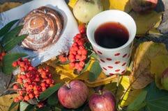 Eine Schale starker schwarzer Tee, süßes Brötchen mit Rosinen, Aschbeeren, Äpfel und bunter Herbstlaub auf einer Steinoberfläche Lizenzfreie Stockbilder