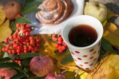 Eine Schale starker schwarzer Tee, süßes Brötchen mit Rosinen, Aschbeeren, Äpfel und bunter Herbstlaub auf einer Steinoberfläche Lizenzfreies Stockfoto