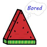 Eine Scheibe der Wassermelone mit einer Aufschrift und mit Gefühlen Vektorillustration in der Karikaturart lizenzfreie abbildung