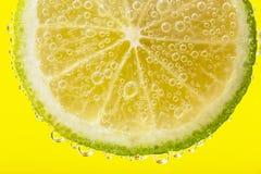 Eine Scheibe der Zitrone in den Blasen Lizenzfreie Stockfotos