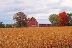 Eine Scheune über einem Bauernhof-Feld lizenzfreies stockfoto