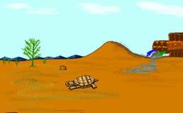 Eine Schildkröte kriecht weg von Verschmutzungsrohren Stock Abbildung