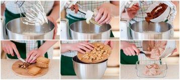 Eine schrittweise Collage der Herstellung der Schokoladen-Eiscreme mit Plätzchen Lizenzfreie Stockbilder