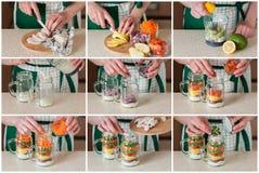 Eine schrittweise Collage der Herstellung des Regenbogen-Picknick-Salats in einem Maurer Stockbild
