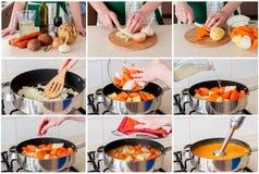 Eine schrittweise Collage der Herstellung Karotte der Sahnesuppe Lizenzfreie Stockfotos