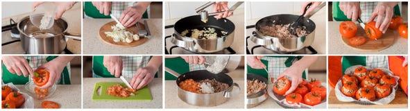 Eine schrittweise Collage der Herstellung von angefüllten Tomaten lizenzfreie stockfotografie