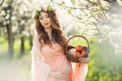 Eine schwangere Frau in einem Frühlingsgarten mit Korb Lizenzfreie Stockfotografie