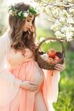 Eine schwangere Frau in einem Frühlingsgarten mit Korb Stockbilder