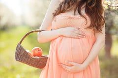 Eine schwangere Frau in einem Frühlingsgarten mit Korb Stockfoto