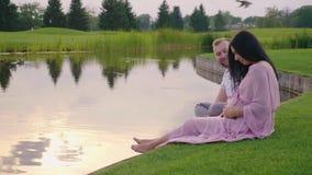 Eine schwangere Frau in einem rosa Kleid mit ihrem Ehemann Sie sitzen auf dem Gras durch den See stock video footage