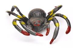 Eine schwarze Halloween-Streichspielzeugspinne Stockbild