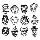 Eine schwarze u. weiße Illustration von lustigen Gesichtern Stockfotos