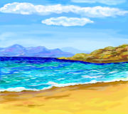 Eine Seebucht mit malerischen Bergen Stockbilder