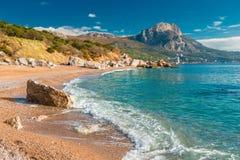 eine Seewelle auf einem sandigen Strand, ein Meerblick stockfotografie