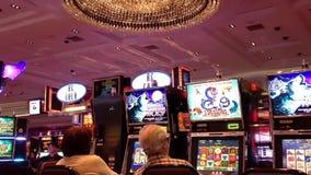 Eine Seite von den Leuten, die Spielautomaten spielen stock video