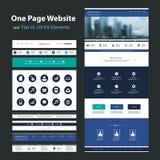 Eine Seiten-Website-Design-Schablone und flaches UI, UX-Elemente Lizenzfreie Stockfotos