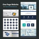 Eine Seiten-Website-Design-Schablone und flaches UI, UX-Elemente Stockfotos