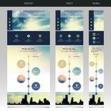 Eine Seiten-Website-Schablone mit unscharfem Hintergrund Lizenzfreie Stockfotos
