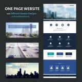 Eine Seiten-Website-Schablone und verschiedene Titel-Designe mit unscharfen Hintergründen Stockfotos