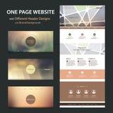 Eine Seiten-Website-Schablone und verschiedene Titel-Designe mit unscharfen Hintergründen Stockbild