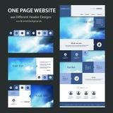 Eine Seiten-Website-Schablone und verschiedene Titel-Designe mit unscharfen Hintergründen Stockbilder
