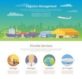 Eine Seitenwebdesignschablone logistik Stockbilder