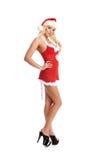 Eine sexy blonde Frau in der Weihnachtswäsche Lizenzfreie Stockfotografie