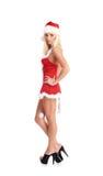 Eine sexy blonde Frau in der Weihnachtswäsche Lizenzfreie Stockfotos