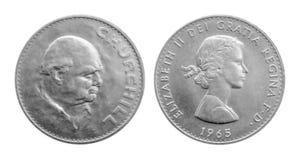 Eine Silbermünze 1965 Kronen-Winston Churchills Churchill-Krone, Stockfotos