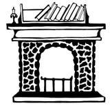 Eine Skizze des angenehmen Kamins lizenzfreie abbildung
