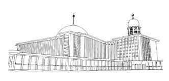 Eine Skizze von Istiqlal-Moschee in Jakarta, Indonesien Stockfotos