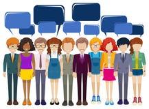 Eine Skizze von Leuten mit leeren Hinweisen Lizenzfreies Stockfoto