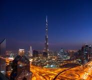 Eine Skylineansicht von im Stadtzentrum gelegenem Dubai Lizenzfreies Stockbild