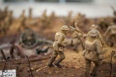 Eine Spielzeugsoldatszene des ersten Weltkriegs Lizenzfreies Stockfoto