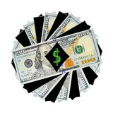 Eine Spirale von neuen $100 Rechnungen Stockfotografie