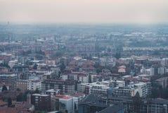 Eine Stadt von oben Stockbild