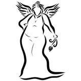 Eine starke junge schöne geflügelte Dame in einem langen Kleid mit einem flowe stock abbildung
